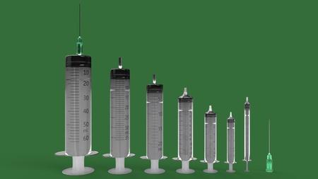 Syringe set of backgorund, 3d render