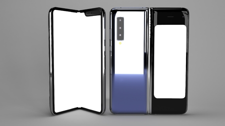 Folding Phone of background, 3d rendering