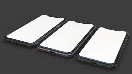 Mobil phone realistic 3d model, of background. 3d render Imagens - 129995977