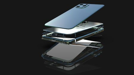 Mobil phone realistic 3d model, of background. 3d render Foto de archivo - 129995979