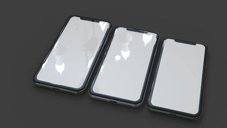 Mobil phone realistic 3d model, of background. 3d render Imagens - 129995978