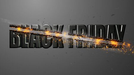 Crossfire Effects BLACK FRIDAY on dark backgorund, 3D Render Archivio Fotografico - 132115034