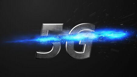 Crossfire Effects 5G on dark backgorund, 3D Rendering Imagens