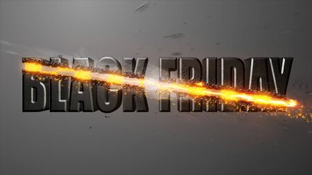 Crossfire Effects BLACK FRIDAY on dark backgorund, 3D Render Imagens - 132115032
