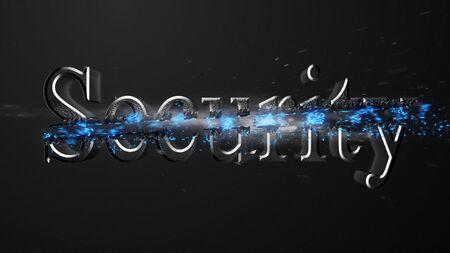 Crossfire Effects Security on dark backgorund, 3D Rendering Imagens