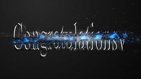 Crossfire Effects Congratulations on dark backgorund, 3D Rendering