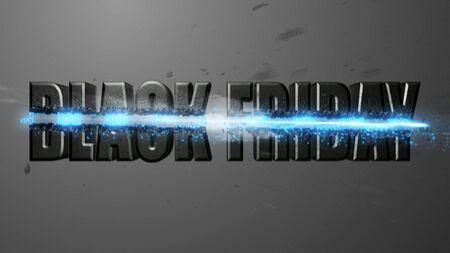 Crossfire Effects BLACK FRIDAY on dark backgorund, 3D Render