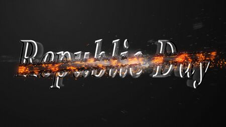 Crossfire Effects Republic Day on dark backgorund, 3D Rendering Imagens - 132115216