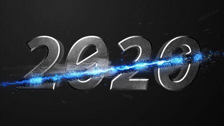 Crossfire Effects 2020 on dark backgorund, 3D Rendering