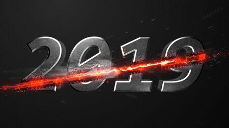 Crossfire Effects 2019 on dark backgorund, 3D Rendering Imagens - 131871687