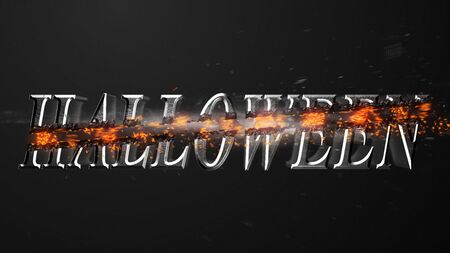 Crossfire Effects Hallowen on dark backgorund, 3D Rendering Imagens