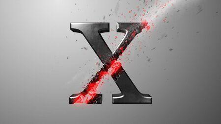 Crossfire Effects alphabet on dark backgorund, 3D Rendering