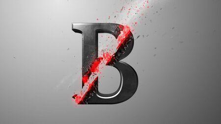 Crossfire Effects alphabet on dark backgorund, 3D Rendering Imagens - 131889832