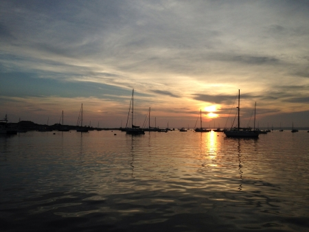 ri: Sunset at the Watch Hill Yacht Club in Westerly RI.  Stock Photo