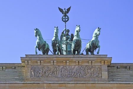 bass relief: When the French Emperor Napoleon concurred the Prussians in 1806 he made a triumphal entrance through the Brandenburg Tor and into Unter Den Linden, which then led to the city palace of the Prussian kings. When he returned to France he took the statue of