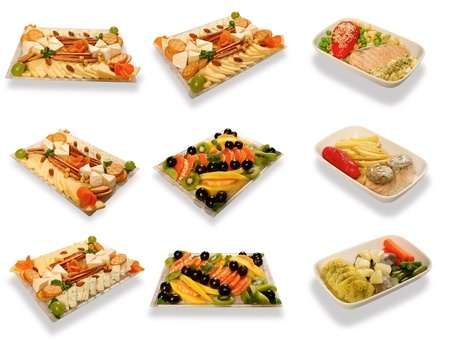 Food set for first class air passengers over white with shadow Stock Photo