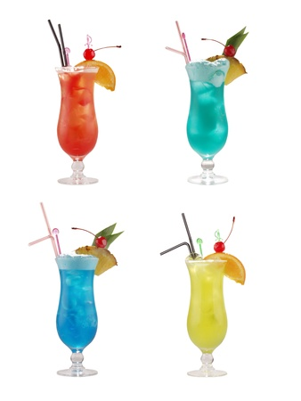 set of alcoholic coktails over white