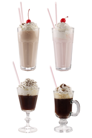 vanil: milk and Ice-cream with coffee cocktail in glass