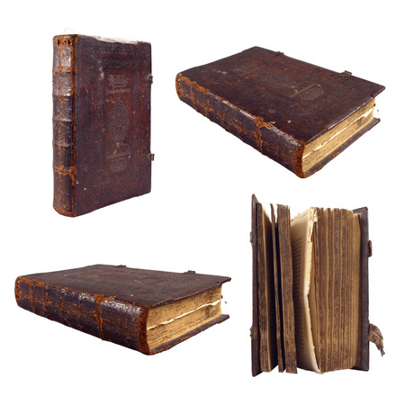 set of old bible book isolated on white background  Stock Photo