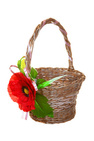 basket for gifts with red flower