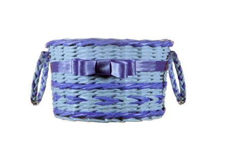 basket for gifts with purple ribbon
