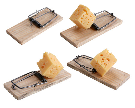baited: Mousetrap baited with cheese
