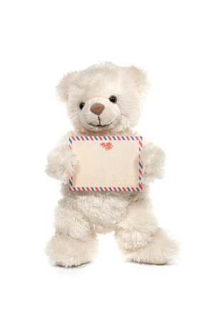 Fluffy white teddy bear with a card on white