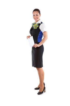 hotesse de l air: H�tesse de l'air heureuse billet tenant Banque d'images