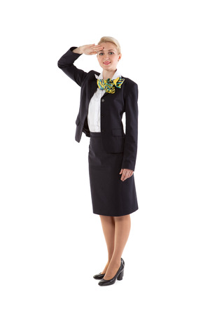 flight attendant greet the crew commander Stock Photo