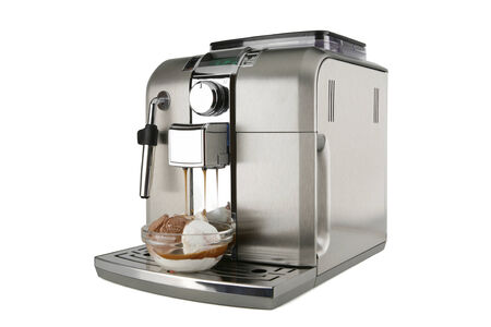 coffee maker with ice cream on a white background Stock Photo