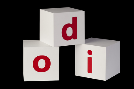 incurred: white cubes with letters isolated on black