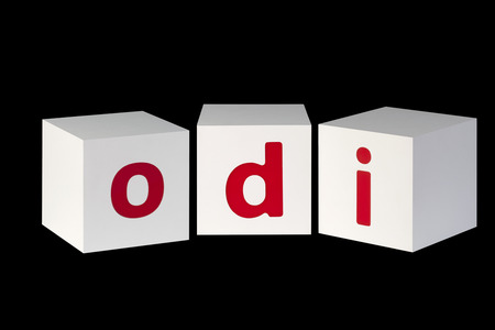 he is different: white cubes with letters isolated on black