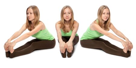Horizontal assembly of the three angles of a girl practicing yoga