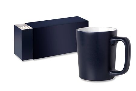 dark blue cup and tea packaging on a white background