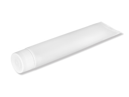 Tube of white color on a white background Stock Photo