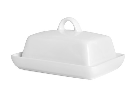 white ceramic butter-dish on white background