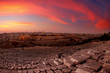 View from the Mount of Olives overlooking the cemetery towards the Dome of the Rock