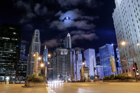 Michigan Avenue in Chicago at night