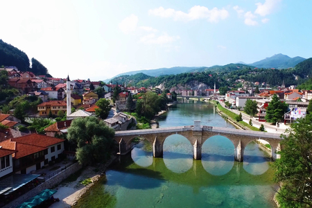 Old stone bridge across the Neretva in Konjic