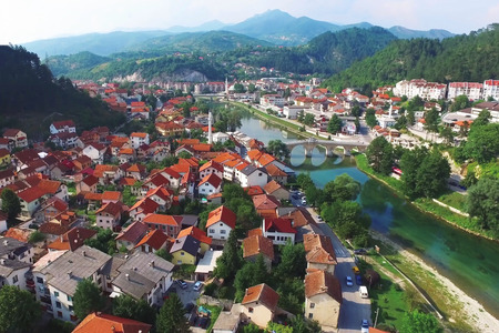 Top view of the city of Konjice on the Neretva River