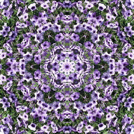 Decorative panel of blue flowers in the form of a kaleidoscope
