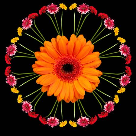 Gerbera flowers in the form of a picture of a kaleidoscope