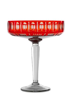 Empty glass red vase on white background Stock Photo
