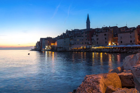 View from the sea towards the old town of Rovinj in Croatia Stock Photo
