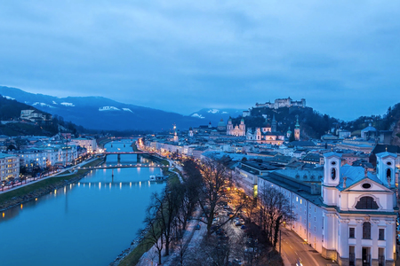 View of the old part of the city of Salzburg in Austria in the evening