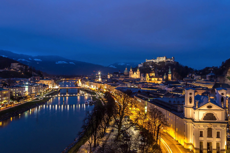 View of the old part of the city of Salzburg in Austria at night