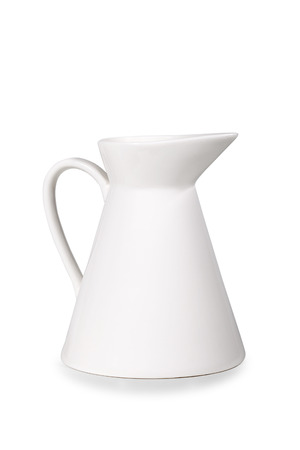 Pitcher of white color on a white background