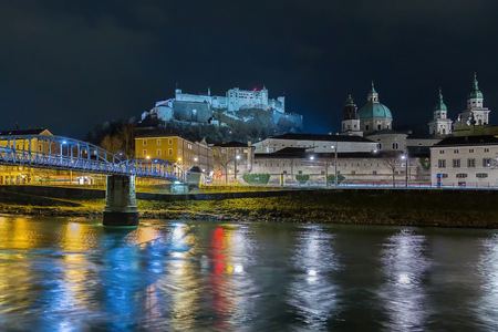 View of the old town and Hohensalzburg from the Salzach river