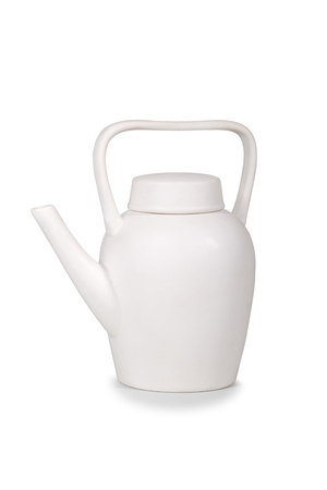 Coffee pot of white color on a white background Stock Photo