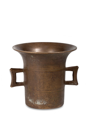 Old bronze mortar on white background Stock Photo